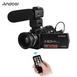 Andoer HDV-V7 PLUS 24MP Digital Kamera Video 1080 P Full HD Camcorder Remote Control + Eksternal Mikrofon + 0.45X Wide Angle Lensa