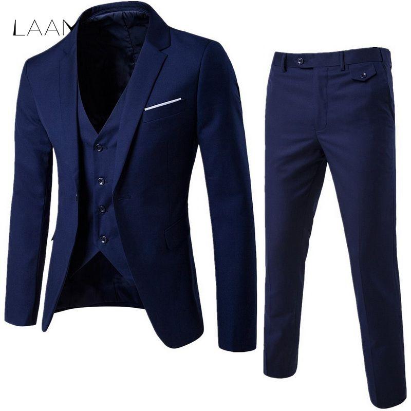LAAMEI Mens 3Pc (jacket + Vest + Trouser) Male Business Dress Slim Fit Thin Spring Suit Solid Casual Office Suit Asian XL=US XXS