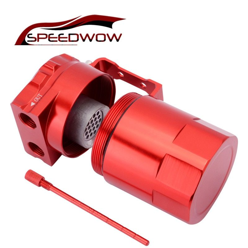 SPEEDWOW 300ml Aluminum Baffled Car Oil Catch Tank Can Reservoir Universal Oil Catch Tank