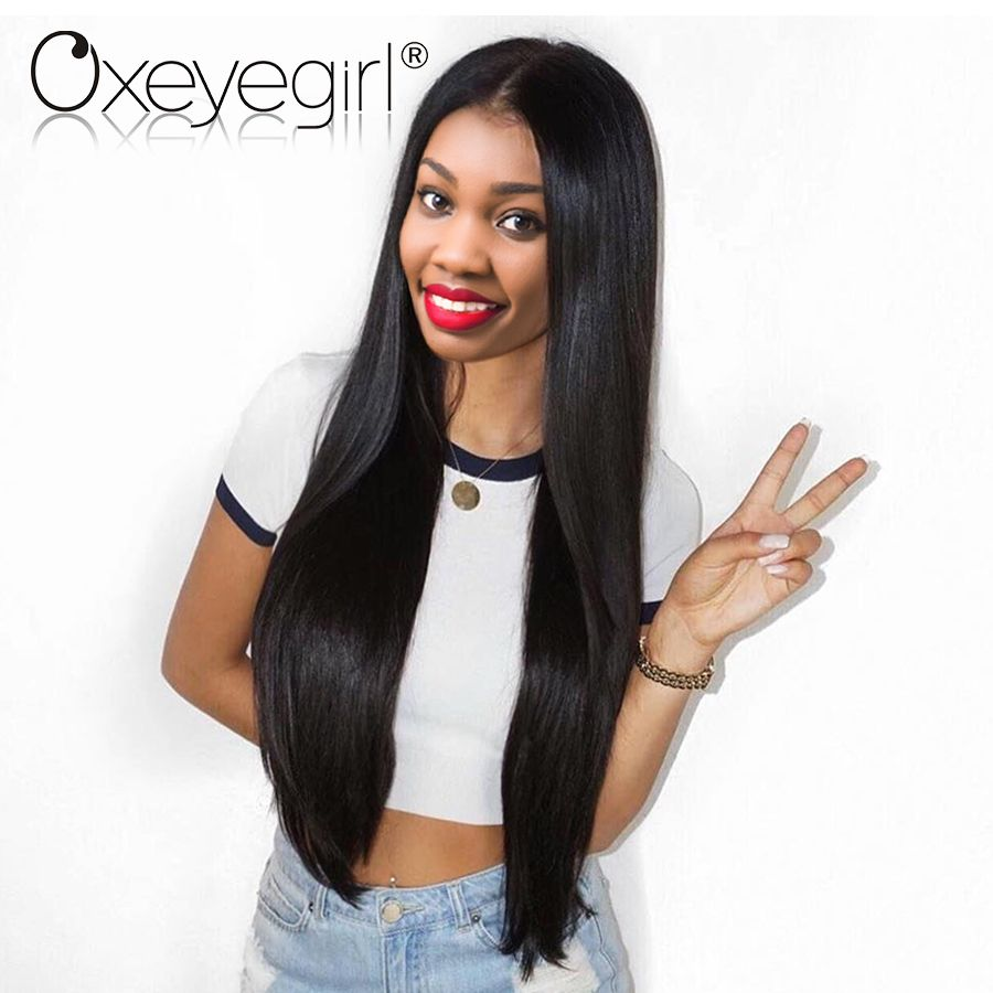Lace Front Human Hair Wigs With Baby Hair Brazilian Straight Hair Wigs Lace Front Wigs For <font><b>Women</b></font> Oxeye girl Nonremy Human Hair