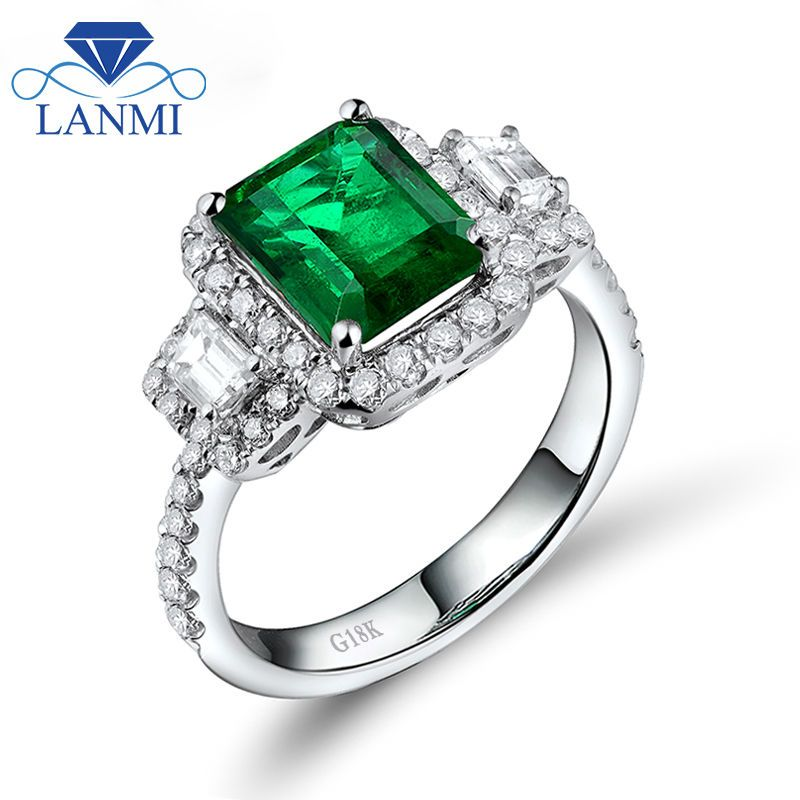New Emerald Cut 7x8.5mm Genuine Natural Green Emerald Engagement Ring ,18Kt White Gold Diamond Emerald Diamond Jewelry WU228