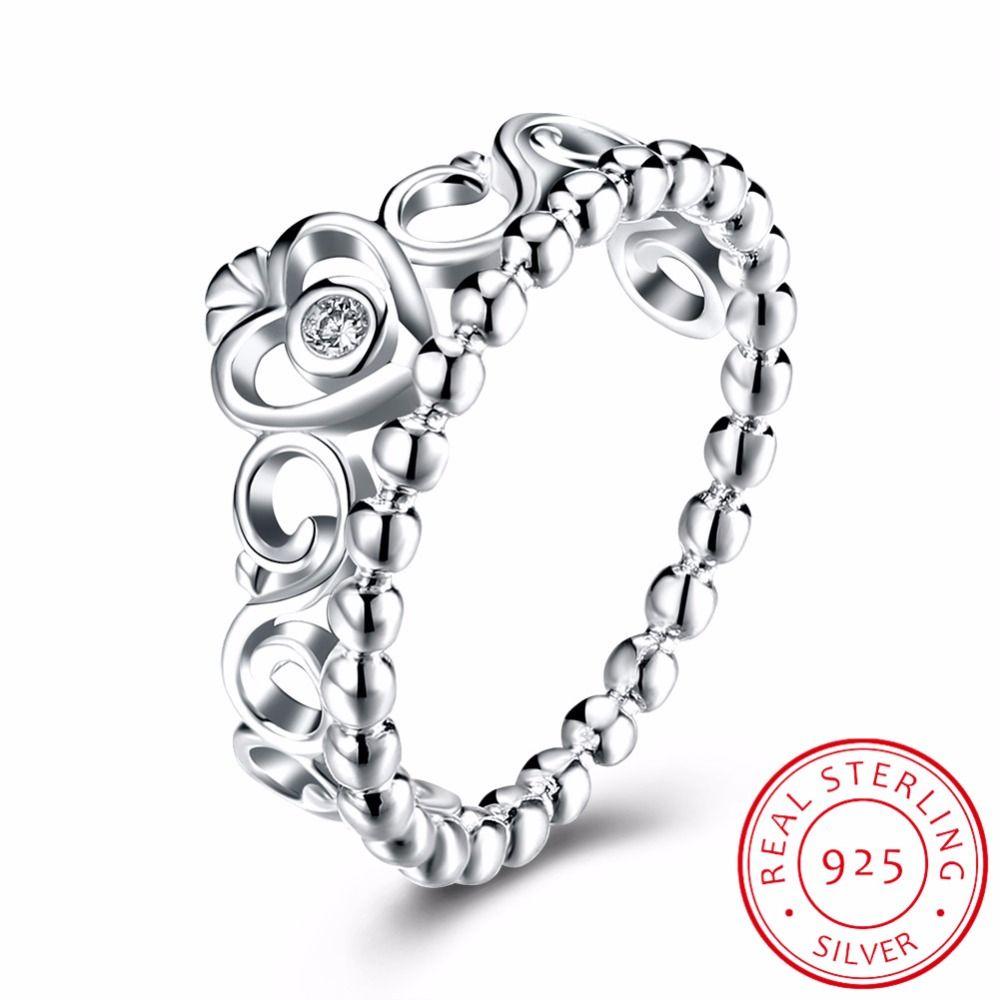 Inalis corona femenina anillo simulado CZ 925 de plata esterlina de compromiso banda de boda anillo para las mujeres Joyería fina