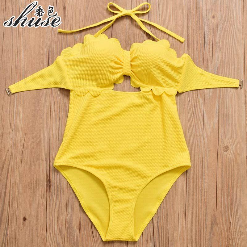 Neue Sommer Gelb Badeanzüge Frauen Ein Stück Badeanzüge Push Up Bademode Hohe Taille Bikini Set Dame Maillot de bain femme