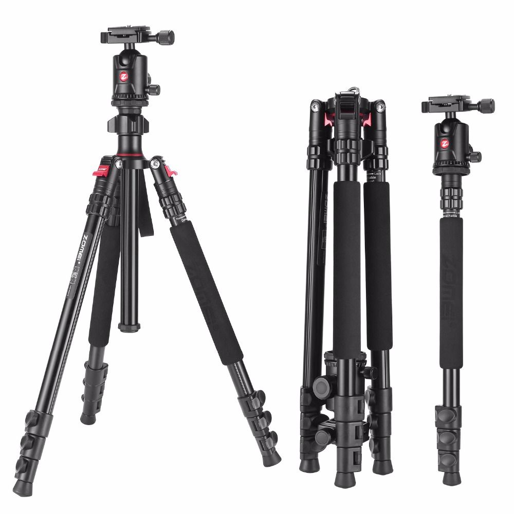 Zomei Aluminium Camera Tripod 63 Inch with Ball Head Quick Release Plate DSLR Travel Tripod for Canon Nikon Dslr DV