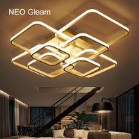 NEO Gleam прямоугольный акриловый алюминиевый светодио дный современный светодиодный потолочный светильник для гостиной спальни AC85-265V белый П...