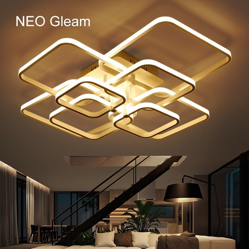 NEO Gleam Rectangle Acrylic Aluminum Modern Led ceiling <font><b>lights</b></font> for living room bedroom AC85-265V White Ceiling Lamp Fixtures