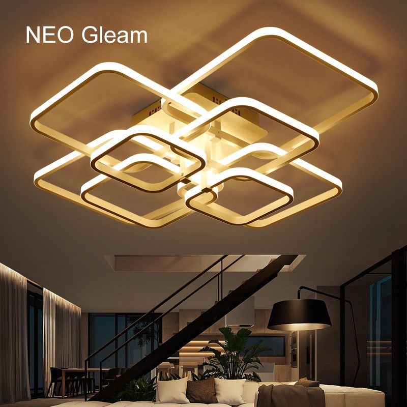 NEO Gleam Rectangle Acrylic Aluminum Modern <font><b>Led</b></font> ceiling lights for living room bedroom AC85-265V White Ceiling Lamp Fixtures