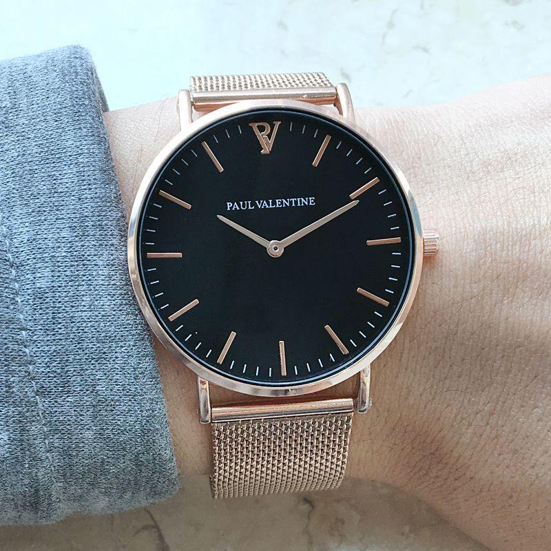 Paul valentine Marque De Luxe Femmes Montres Étanche Affaires En Or Rose En Acier Inoxydable Dames Quartz montre-Bracelet