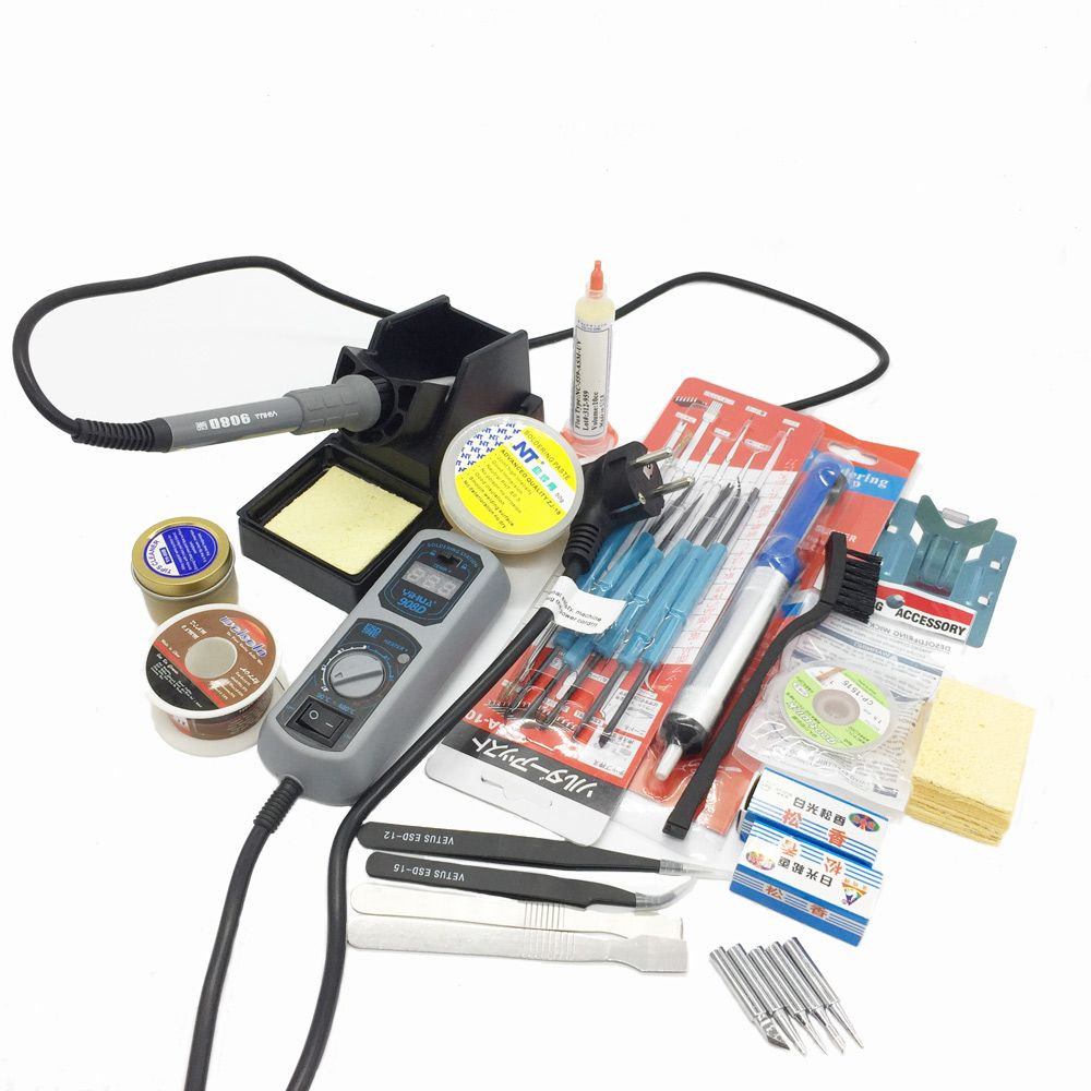 Original 220V/110V YIHUA 908D Soldering Iron Temperature Adjustable Electric Welding Soldering Iron +5tips+stand+tweezers+sponge