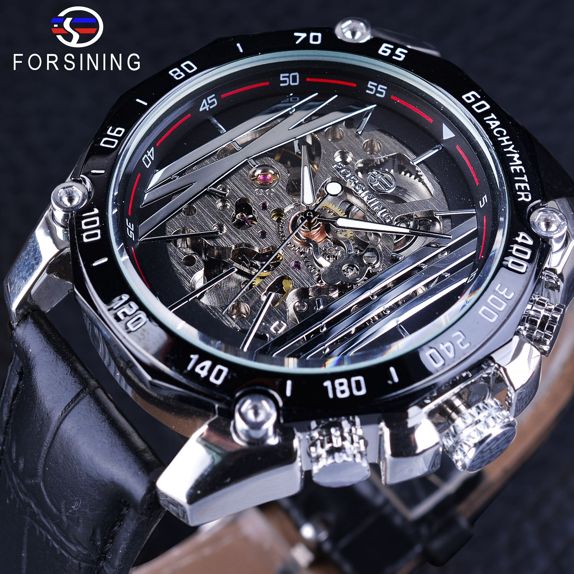 Forsining Mechanical Steampunk Wristwatch Men Military Sport Watch Silver Transparent Skeleton Automatic Creative Watch Clock