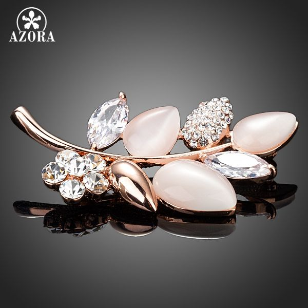 AZORA Gold Color Clear Cubic Zirconia Stone Leaves Design Pin Brooch TP0016