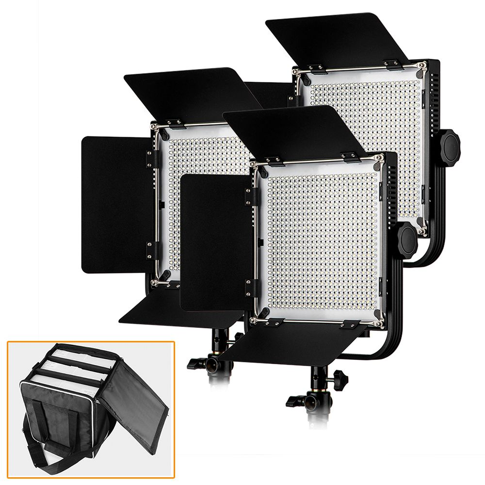 LED Video Studio Light (3 Pack) High CRI 90+ with Customized Portable Carry Bag for 3 LED Video Lights for DSLR Cameras