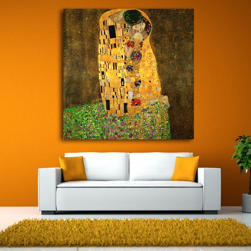 2017 Gustav Klimt Kiss Printed Painting On Canvas Wall Art Picture For Living Room Home Decor Or Hotel Unframed free shipping