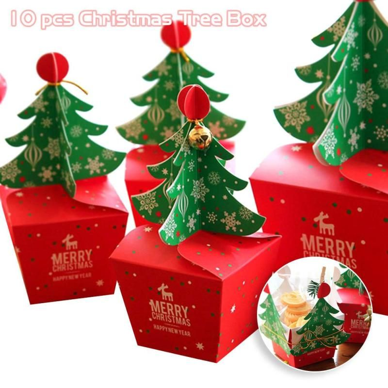 10 PCS/Set Merry Christmas Candy Box Bag 3D Christmas Tree Gift Box With Bells Paper Box Gift Bag Container Supplies Navidad S3