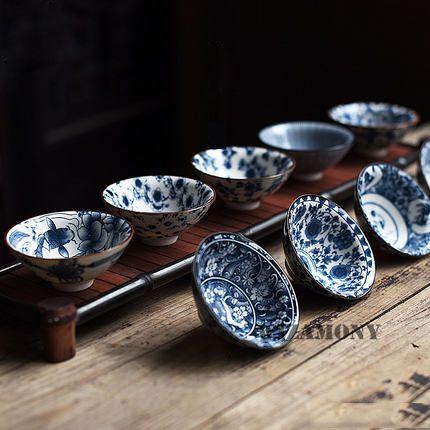 1 pièces!! bol à thé en porcelaine chinoise WIZAMONY Bue et blanc ensemble de thé thé à thé en céramique Atique glaçure Kung Fu thé maître tasse