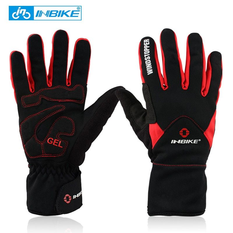 INBIKE Winter Cycling Gloves Full Finger Thermal Bike Bicycle Gloves Windproof Mittens 2 Colors Outdoor Ski & Climbing IF966