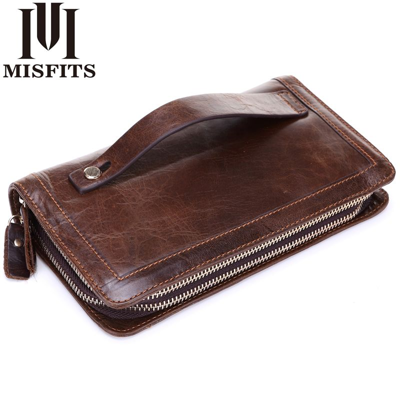 MISFITS Men Wallet Genuine Leather Purse Double Zipper Male Wallet Men's handbags Business Long Phone Wallet Man's Clutch Bags