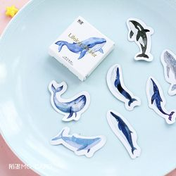45pcs/pack Kawaii Whale Label Stickers Decorative Stationery Stickers Scrapbooking DIY Diary Album Stick Label School Supplies