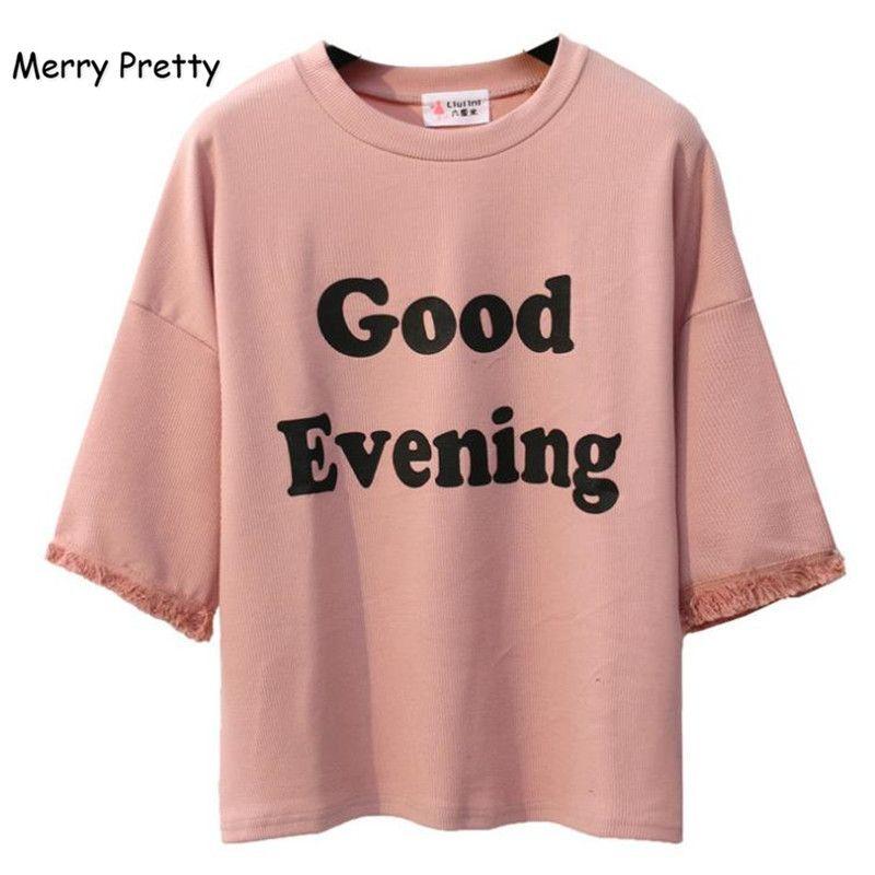 JOYEUX ASSEZ Rose Harajuku Style Femmes t shirt Coton Tops Gland Lettre Imprimer Manches Chauve-Souris Femelle T-shirts Casual Drôle Top