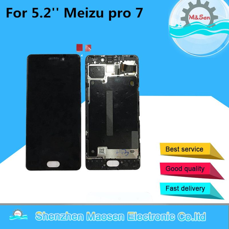 M&Sen For 5.2'' Meizu pro 7 LCD display screen+ Touch panel Digitizer with frame white/Black Free shipping