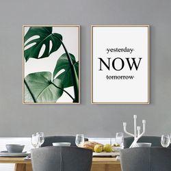 Style nordique Toile peinture Affiche de Vert Feuille Monstera Deliciosa et Devis, Sans Cadre Mur Photo pour Décoration de La Maison