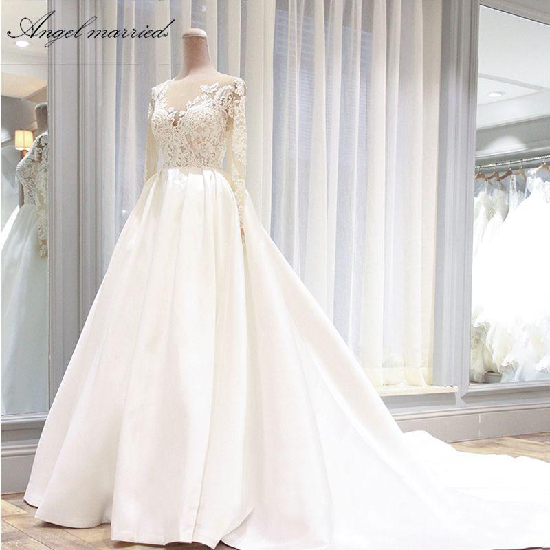 Engel verheiratet hochzeit Kleider vintage hochzeit kleid lange hülse spitze braut kleid hochzeit party kleid vestidos de novia