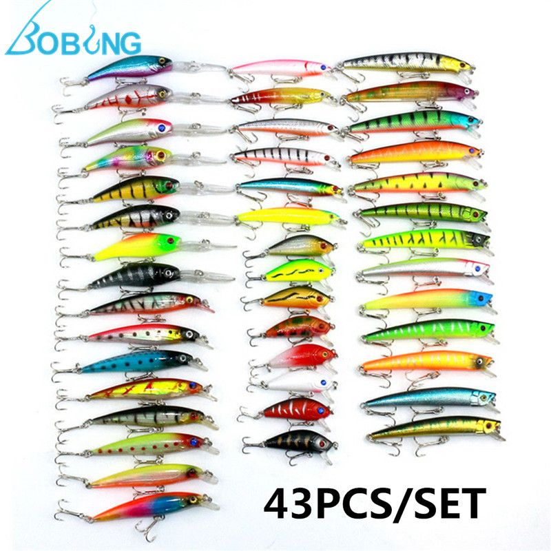 New Arrival 43pcs/lot Mixed Minnow Lure Wobbler Carp Bass Lure Crank Baits Assorted Fishing Lures Fishing Tackle Box Accessories