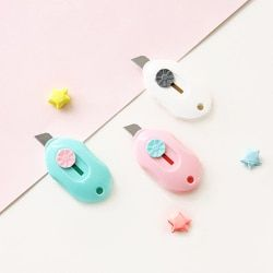 Cute candy Color Mini Portable Utility Knife Paper Cutter Cutting Paper Razor Blade Office Stationery student school supplies