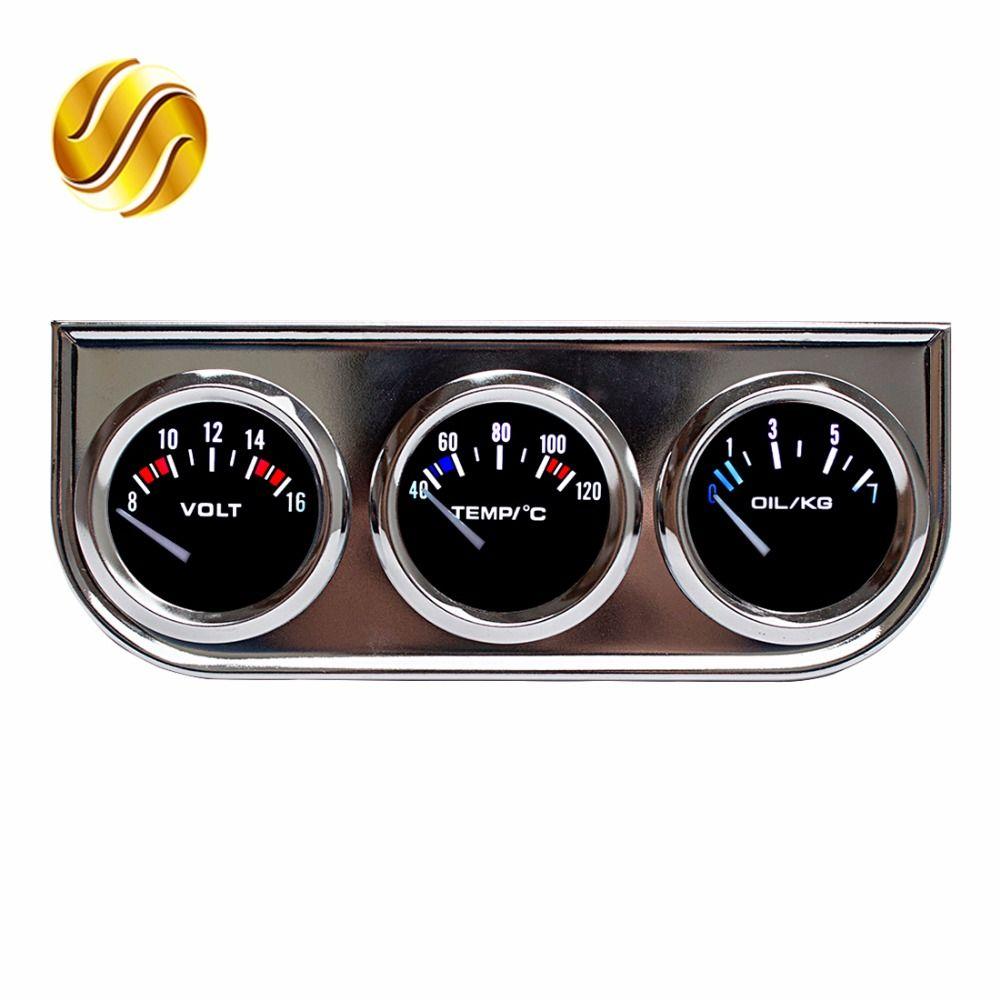 Dragon Gauge Car Triple Gauge Voltage + Water Temperature + Oil Press Gauge Chrome Holder Car Meter 3 In 1 Kit Dashboard