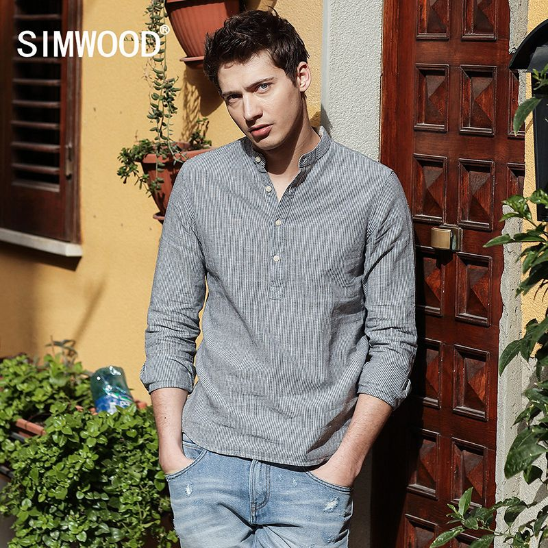 SIMWOOD 2018 Autumn New Arrival Striped Casual Shirts Men Mandarin Collar Cotton and Linen Slim Fit Brand Clothing CS1602