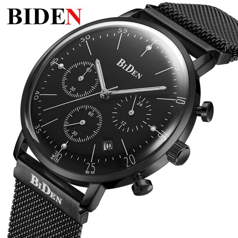 Top Brand Luxury BIDEN Men Watch Relogio Masculino Dress Japan Quartz Watches Stainless Steel Mesh Milanese Loop Strapbox Gifts