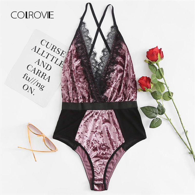 COLROVIE Lace Trim Mesh Panel Velvet Teddy 2018 Multicolor Contrast Lace Women Bpdysuit New <font><b>Arrival</b></font> Sexy Purple Lace Bodysuit