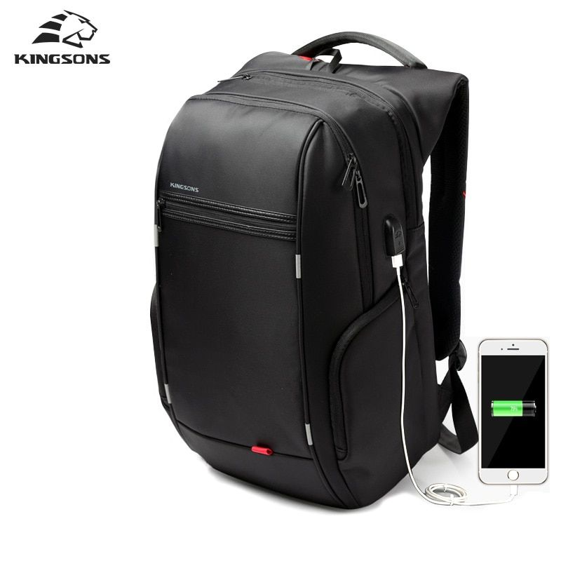 Kingsons 1517 Laptop Backpack External USB Charge <font><b>Computer</b></font> Backpacks Anti-theft Waterproof Bags for Men Women