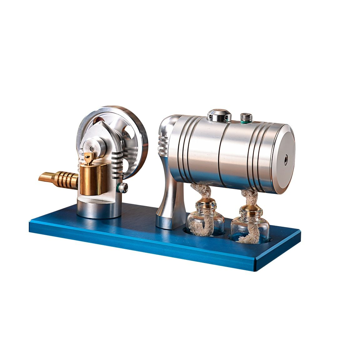 High Quality Metal Bootable Steam Engine Model Retro Stirling Engine Model with Heating Boiler Alcohol Burner DIY Science Tools