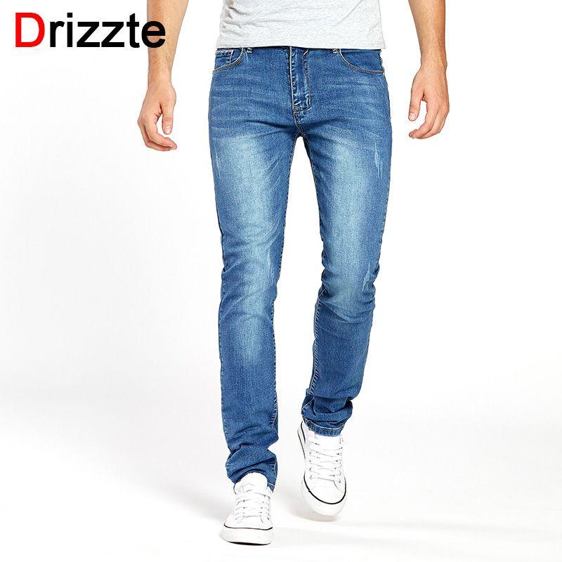Drizzte Hommes Jeans Stretch D'été Léger Mince Bleu Denim Jeans Mode Pantalon Pantalon