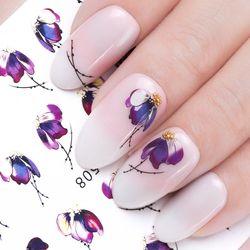1 шт. наклейки для ногтей Бабочка с изображением цветов, переводные наклейки Слайдеры для ногтей украшения татуировки маникюрные обертыван...