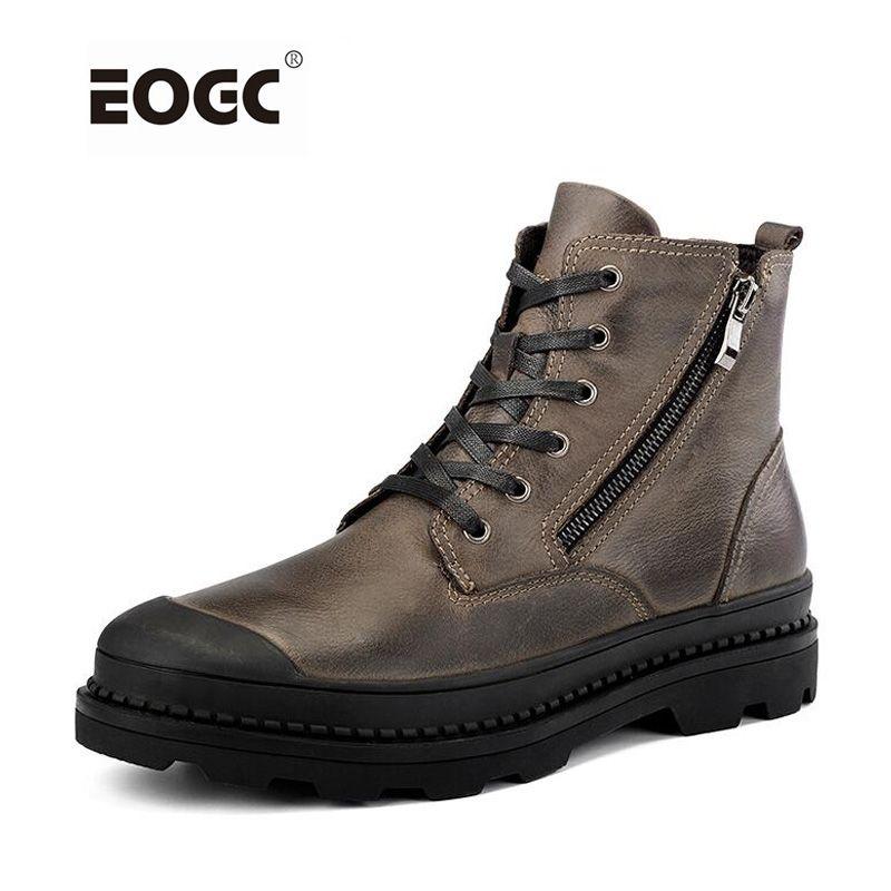 Винтаж Стиль Мужские ботинки из натуральной кожи осенне-зимняя обувь водонепроницаемые Рабочая безопасная обувь Для мужчин качество Ботил...