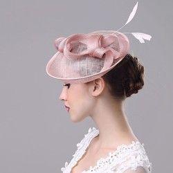 2018 Baru Fashion Wanita Fascinator Mesh Topi Pernikahan Wanita Fascinator Penny Mesh Topi Pita dan Bulu Topi Pesta
