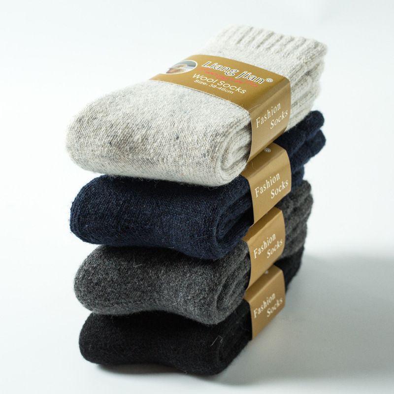 4 Paires Super Épais Chaussettes D'hiver Super Chaud Hommes Chaussettes de Laine, Plus Velours Épais Éponge De Plancher Chaussettes