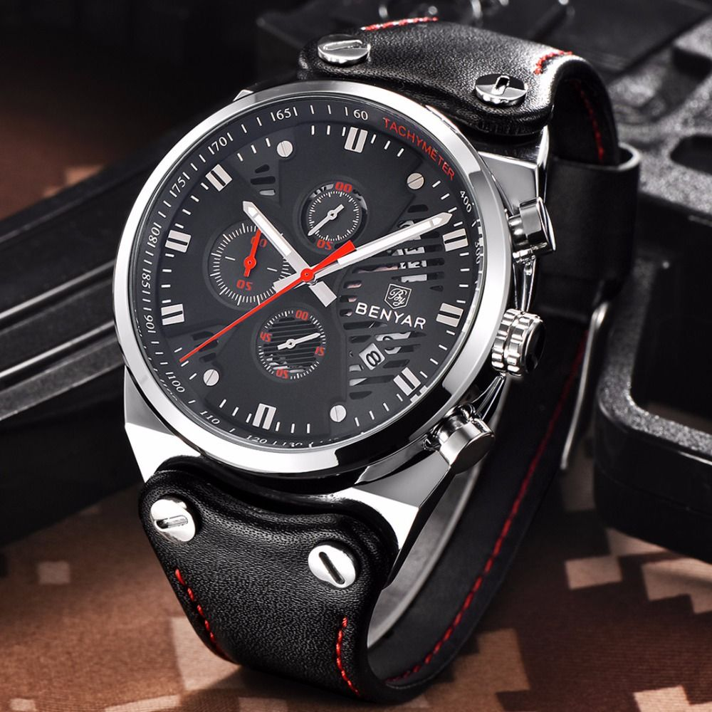 Top luxury brand Mens Fashion Leather Strap Multifunction Watches Men Quartz Watch Waterproof Wristwatch Male Table Clock Reloj