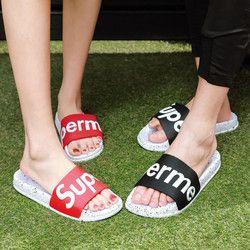 PXELENA pareja amantes zapatillas de verano suave confort plataforma plana diapositivas hombres Word imprimir playa al aire libre Flip Flops tamaño grande 36 -44