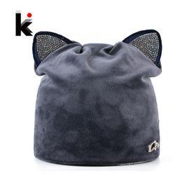 Осень-зима женские шапочки кот шапка зимняя женские теплые бархатные  шапки с мигающими со стразами ушами для ушки шапочка для девочки