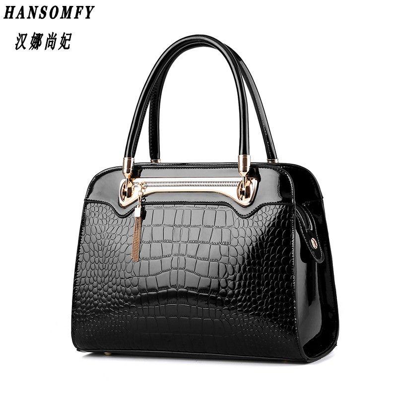 100% echtem leder Frauen handtaschen 2018 Neue Krokodil muster Mode Europäischen stil einzigen schulter tasche messenger handtasche