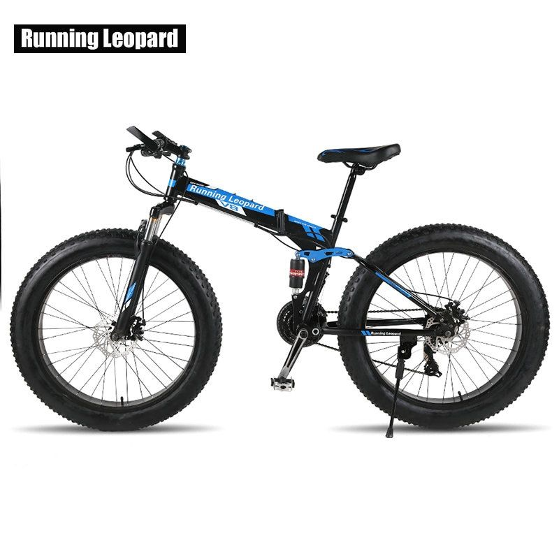 Running Leopard High quality 26''x 4.0 folding bicycle 21 speed road bicycle 17.5 ince steel frame bike Mountain bike Fat Bike