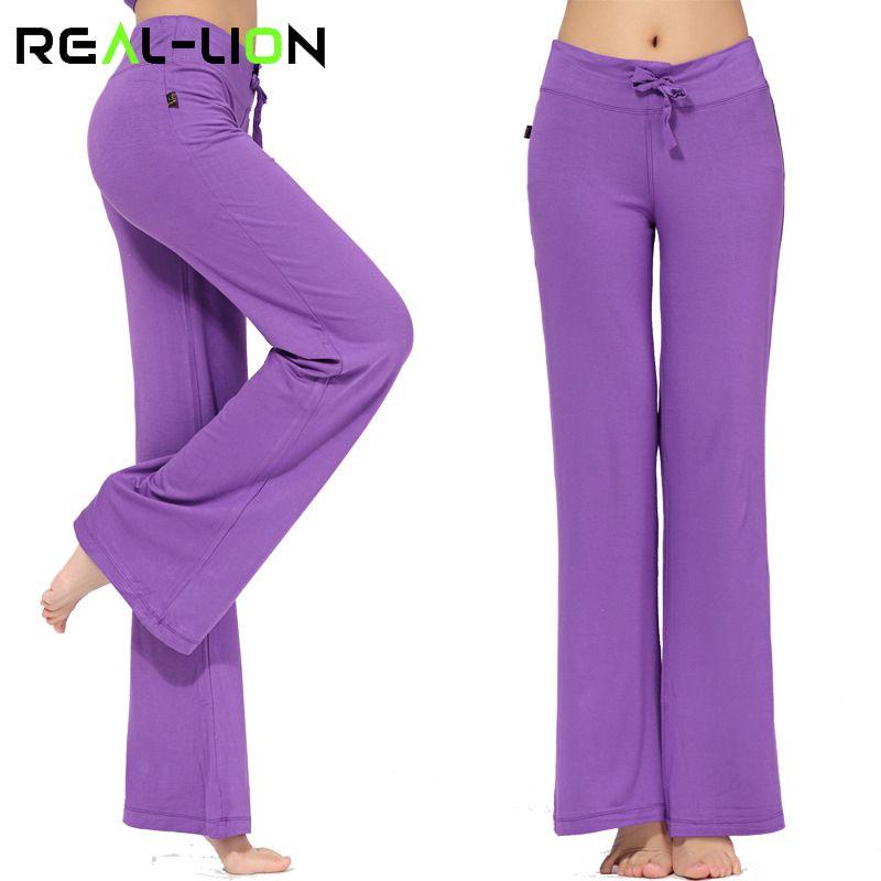 RealLion Large Jambe pantalons de sport Femmes Taille Haute bande extensible pantalons pattes d'éléphant Large Jambe De Danse pantalon de yoga Pantalons Longs S-4XL