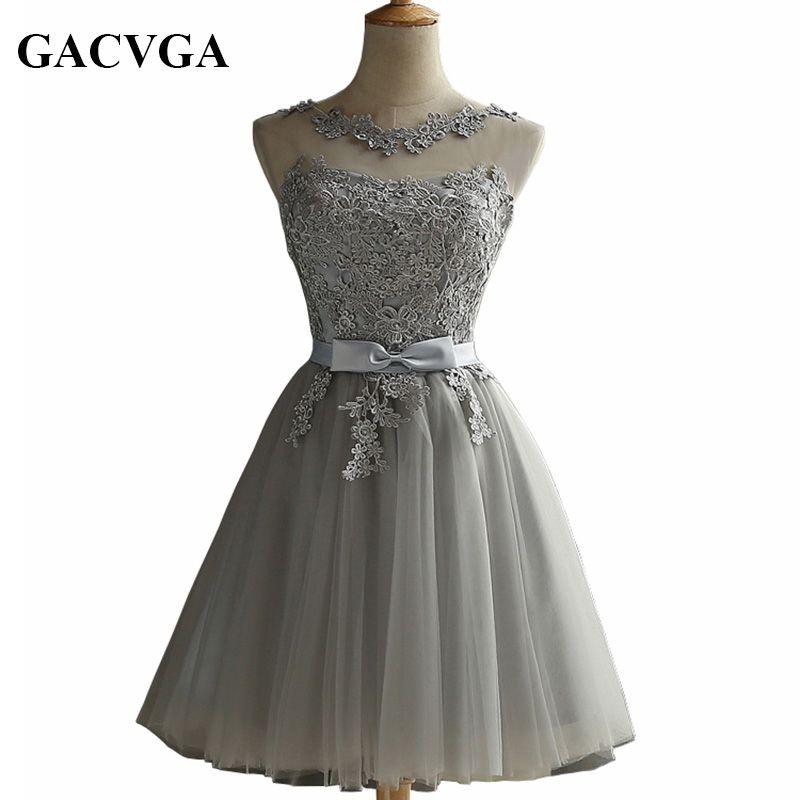 GACVGA 2019 élégante dentelle diamant robe d'été sans manches belle robe courte pour les femmes Sexy mince robes de fête de noël robes Vestidos