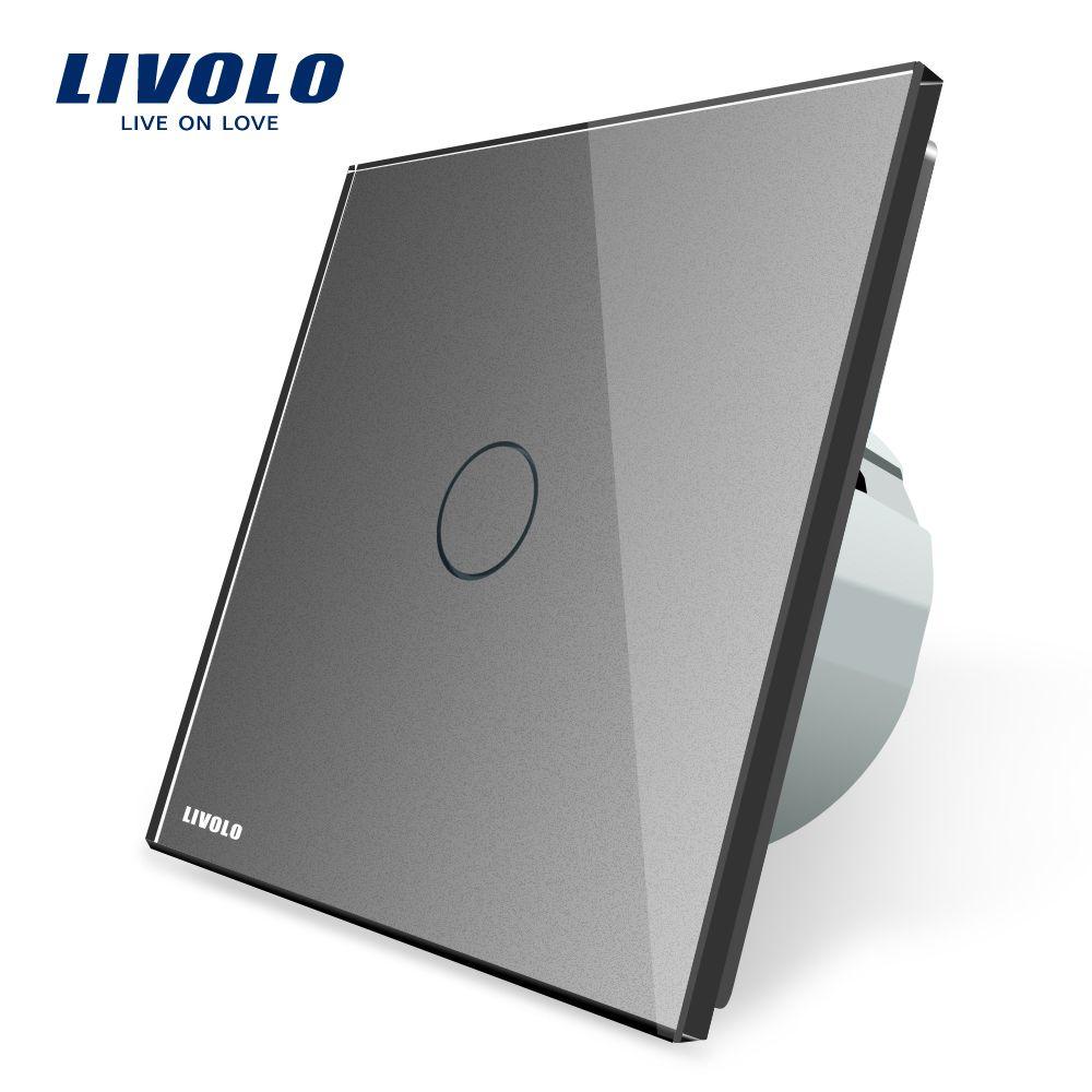 Livolo Стандартный ЕС Сенсорный экран настенный выключатель света, серый Цвет, AC 220 ~ 250 В, vl-c701-15