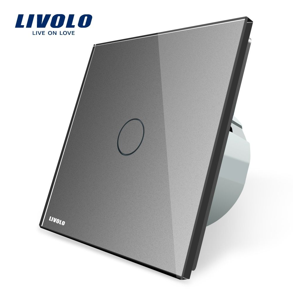 Livolo EU standard Touch <font><b>Screen</b></font> Wall Light Switch, Grey Color, AC 220~250V ,VL-C701-15