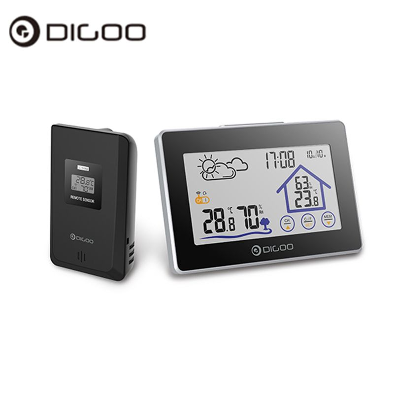 Digoo DG-TH8380 TH8380 Wireless Touch Screen Thermometer Hygrometer <font><b>Weather</b></font> Station Thermometer Outdoor Forecast Sensor Clock