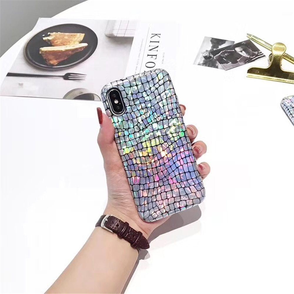 Fish Scales Bling Laser Sequins glitter phone case For iphone X case For iphone 7 case For iPhone 8 8p 7 7 Plus 6 6S Plus Cover